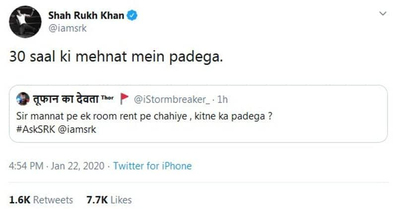 It did not take SRK too much time to respond to him with a witty answer.