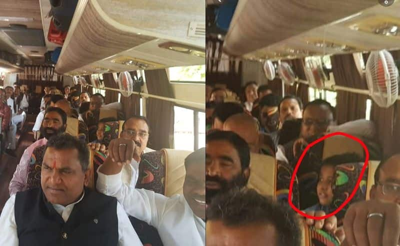 """Kid appears in the bus transferring congress MLA""""s, Pic goes Viral"""