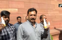 Coronavirus: BJP MP distributes sanitizers in Parliament