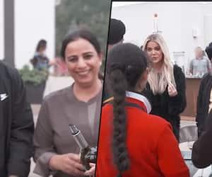 When Kim Kardashian West and her sisters Khloe, Kourtney Kardashian offer wine to an Indian family