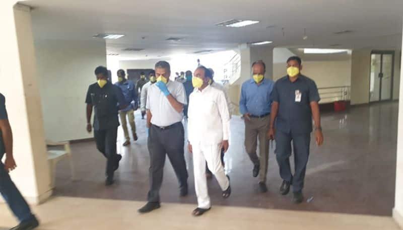 coronavirus effect...  minister eetela rajender inspected  gachibowli sports complex