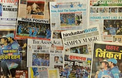 Indian newspapers tell the story of how India won the World Cup 2011 semi-final against Pakistan.