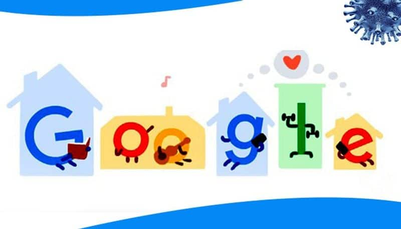 google doodle gives tips on stay at home
