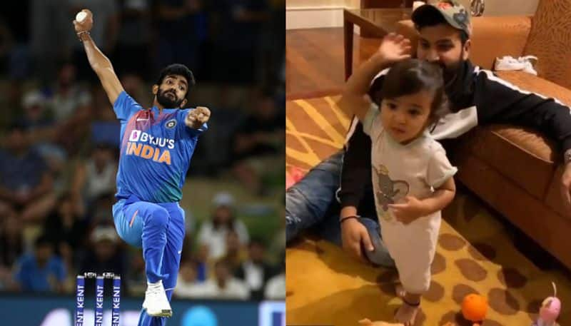 Rohit Sharma's daughter trying to copy Bumrah's bowling action, viral video