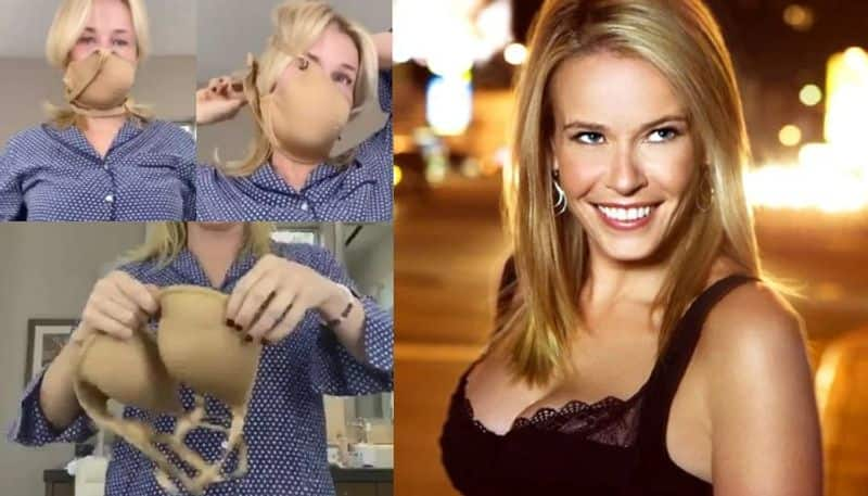 Hollywood actress Chelsea Handler making masks with lingerie