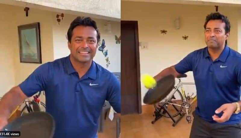 Leander Paes Gives 'No Look Frying Pan Challenge', Mahesh Bhupathi and oters players except the challenge