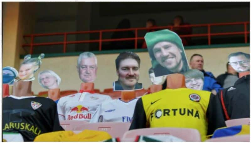 Belarus club puts cut outs of fans on mannequins in stadium to boost morale