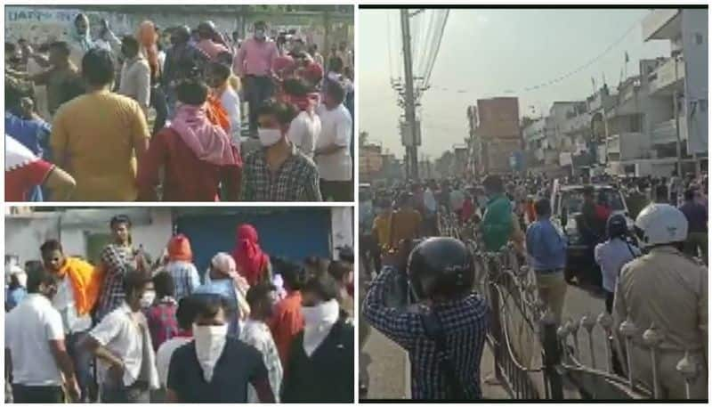 Locals gather in huge numbers near Graveyard in Ranchi amid lockdown, allegedly opposing the burial of a body covid positive patient