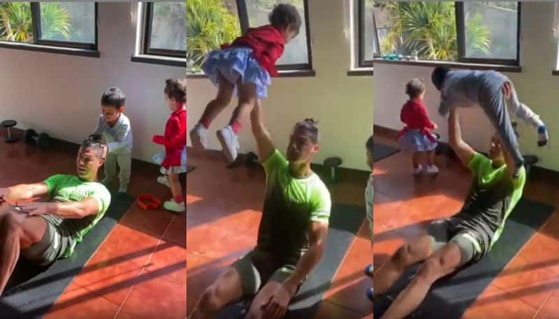 Cristiano Ronaldo exercise at home with his son and daughter during lock down