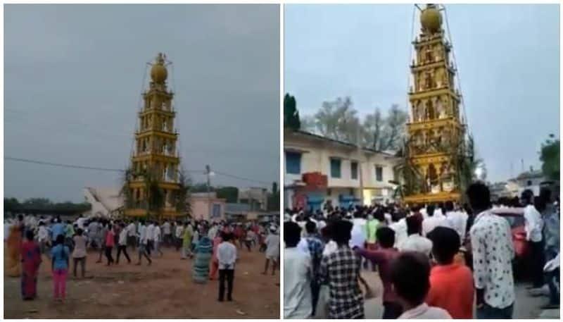 Villagers in Karnataka break lock down rules for temple festival police take case