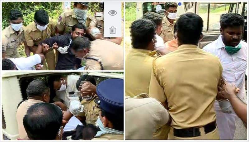 youth congress protest in front of minister sunil kumars house