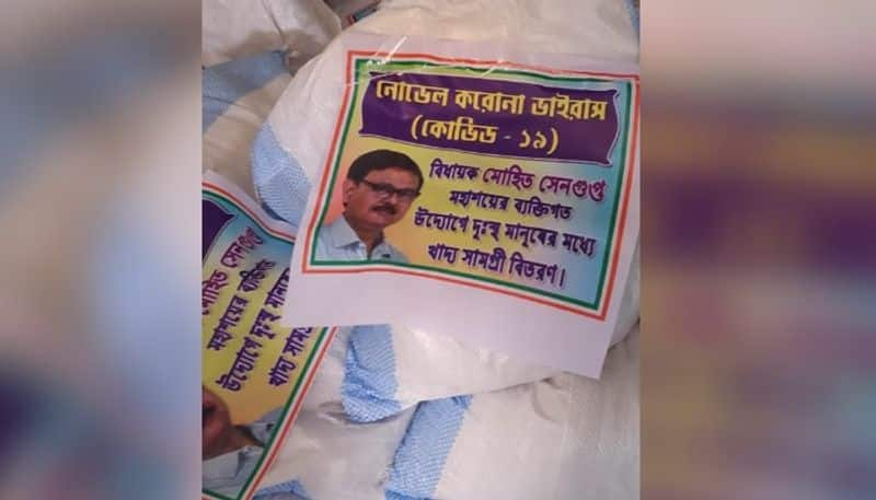 MLA creates controversy by using his photo on relief materials in Raigung