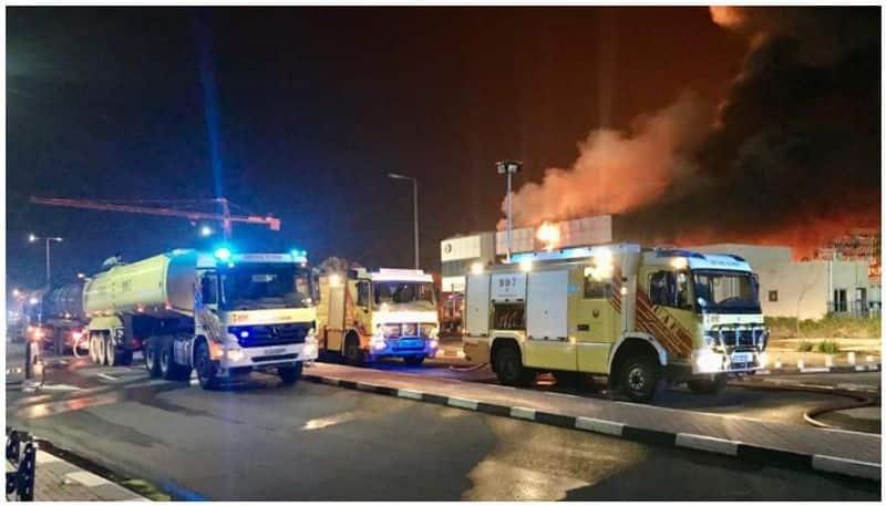 Fire in Jebel Ali petroleum warehouse Dubai UAE