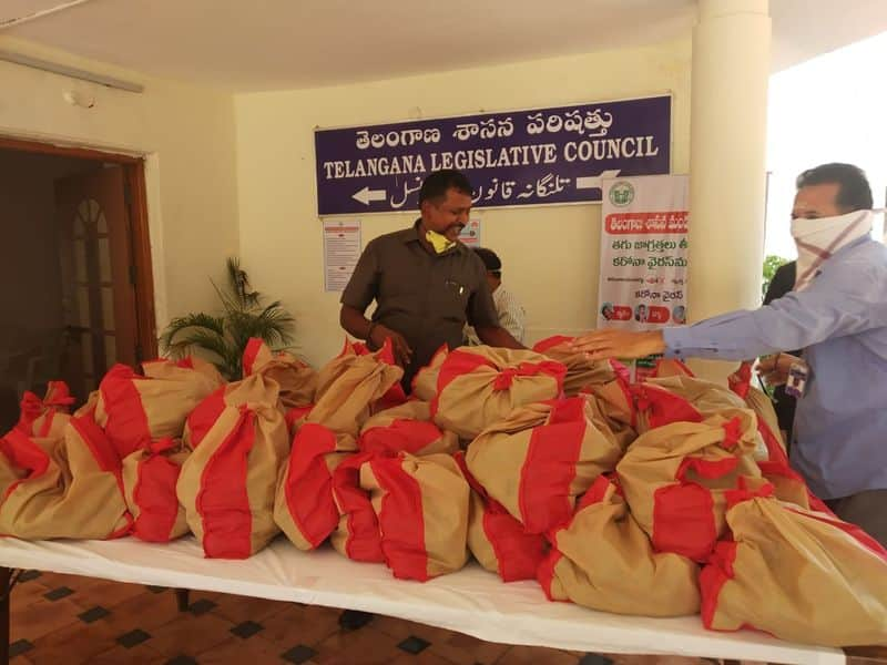 telangana legislative council chairman gutha sukender reddy distributed fruits to assembly employees