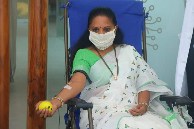 EX mp kavitha donated blood on the call of minister ktr in hyderabad