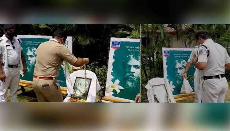 Bidhannagar City Police paid homage to Rabindranath Tagore at several places in Salt Lake