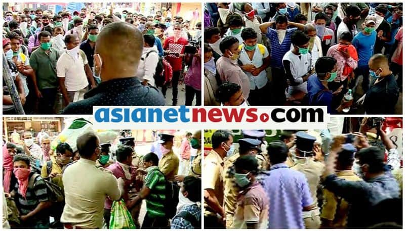 covid 19 lockdown protest of migrant laborers in kannur police disperses crowd