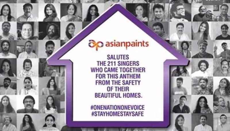 asian paints sponsors one nation one voice, dedicated to corona warriors
