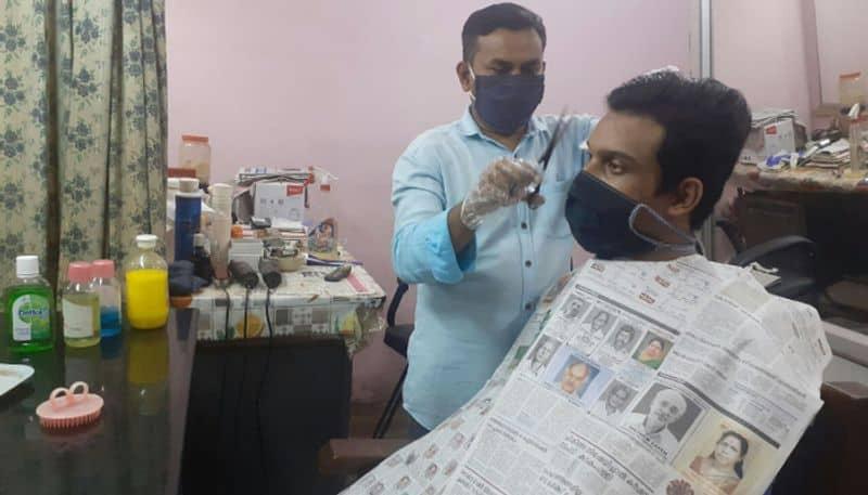 balaramapuram barber shop use paper dress