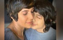 <p>mandira bedi and son</p>