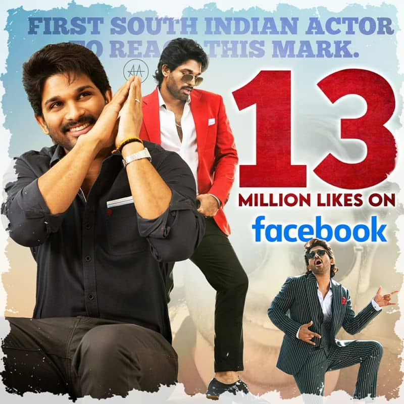 Stylish Star Allu Arjun is the First South Indian actor to Reach 13 MILLION Likes on Facebook