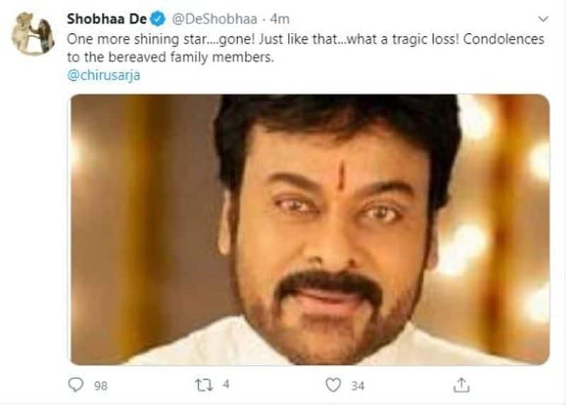 Shobhaa De posts Telugu star Chiranjeevi photo to mourn Chiranjeevi Sarja demise