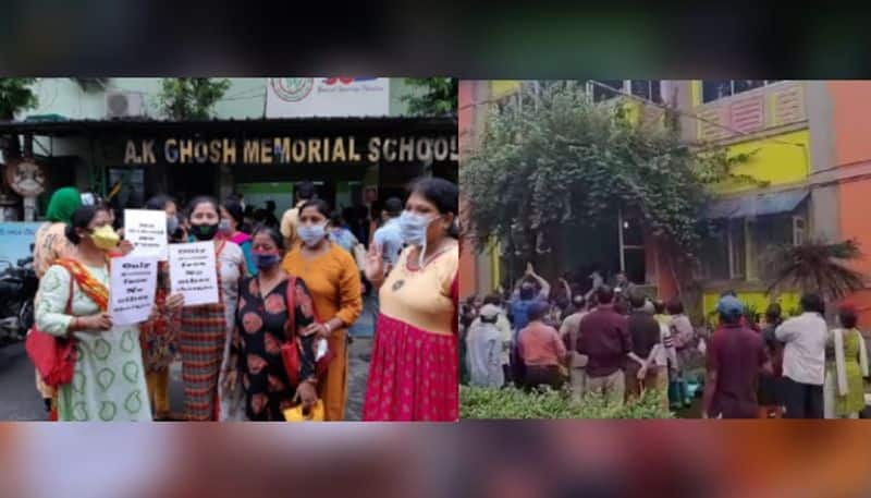 Guardians protest against fee hike at  St Mary and Day School in Kolkata