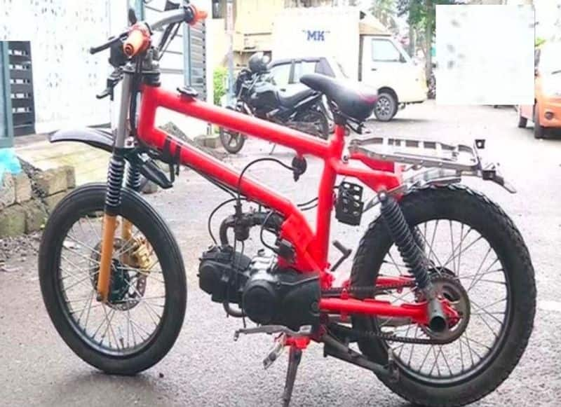 9th standard student built a light bicycle motorcycle kerala