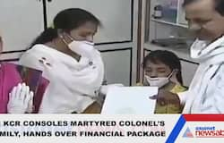 Chief minister KCR visits martyred colonel's family, hands over financial package