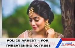 <p>4 arrested for trying to extort money from Malayalam actress Shamna Kasim</p>  <p>&nbsp;</p>