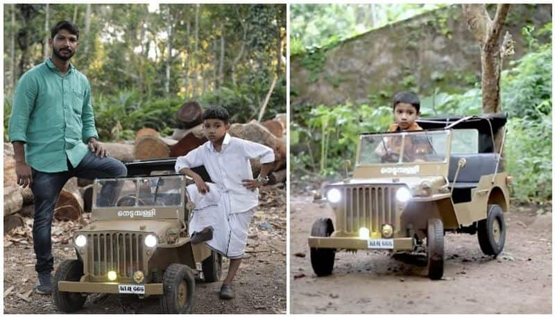 arunkumar makes miniature model of willies jeep