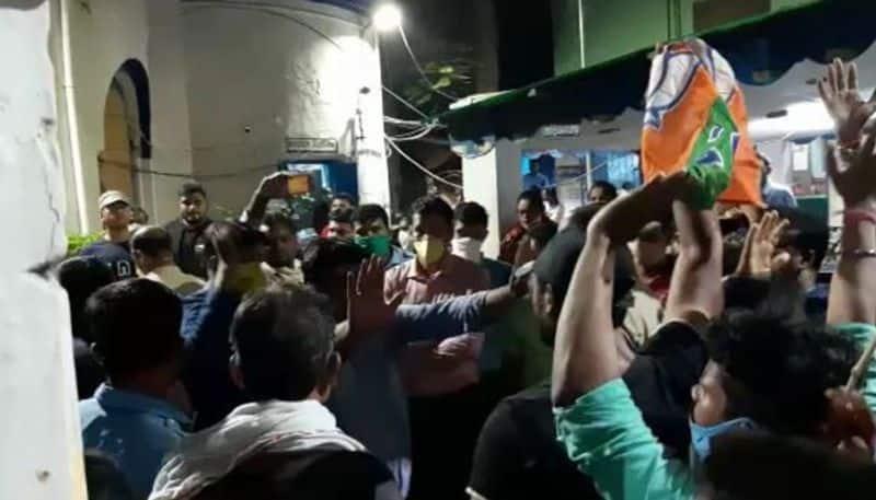 BJP alleges TMC beats their cadres on dharna In Burdwan TD