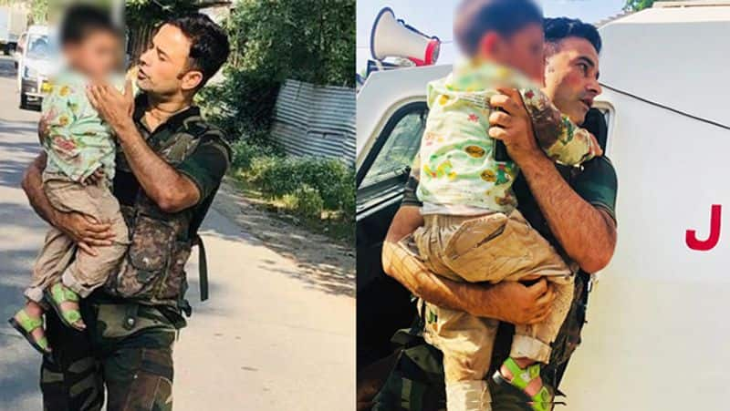 J K Police jump to the rescue of 3 yr old during terror attack
