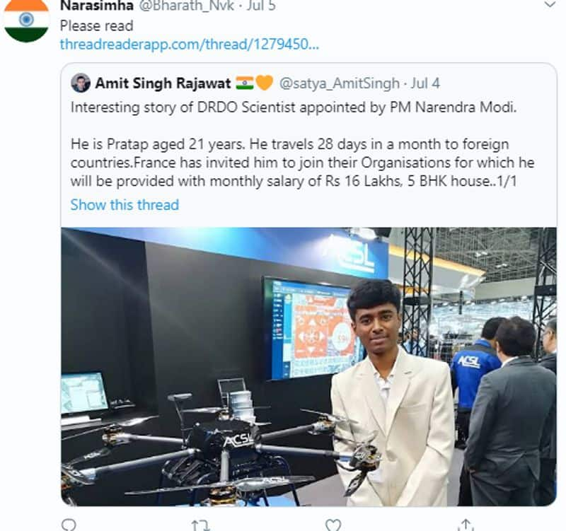 fake claim of drone scientist pratap been appointed by pm modi in drdo kpt