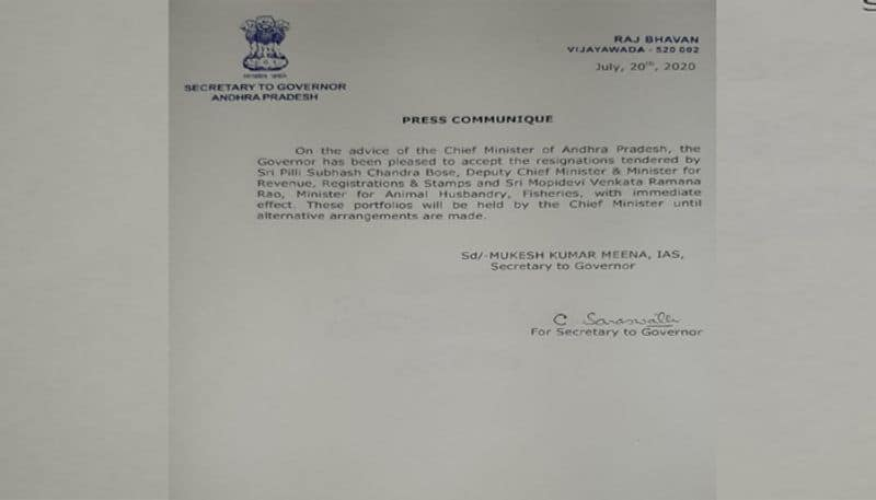 ap governor accepts resignation of two ministers