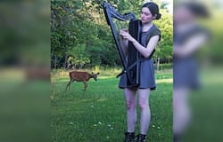 <p>video of a deer stops by to listen to a woman playing harp, goes viral</p>