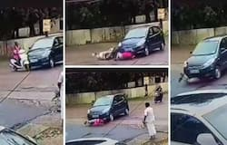 <p>car hit scooter</p>