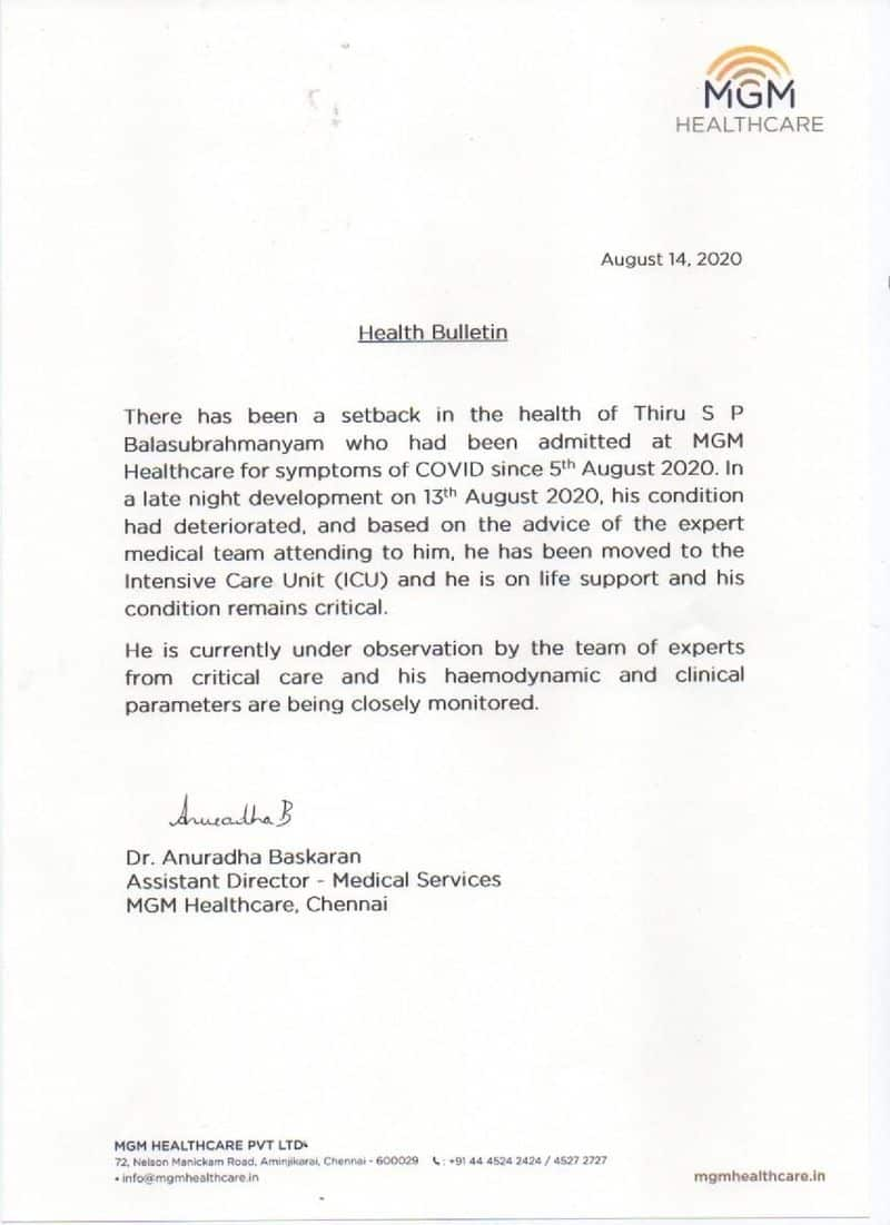 coronavirus Singer SP Balasubrahmanyam shifted to icu in MGM Healthcare chennai