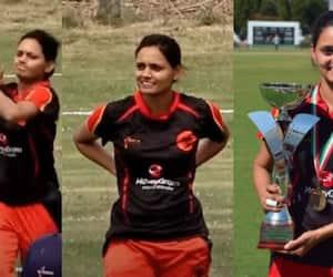 4 wickets 4 balls ex Karnataka woman player anuradha doddaballapur world record Germany captain apc