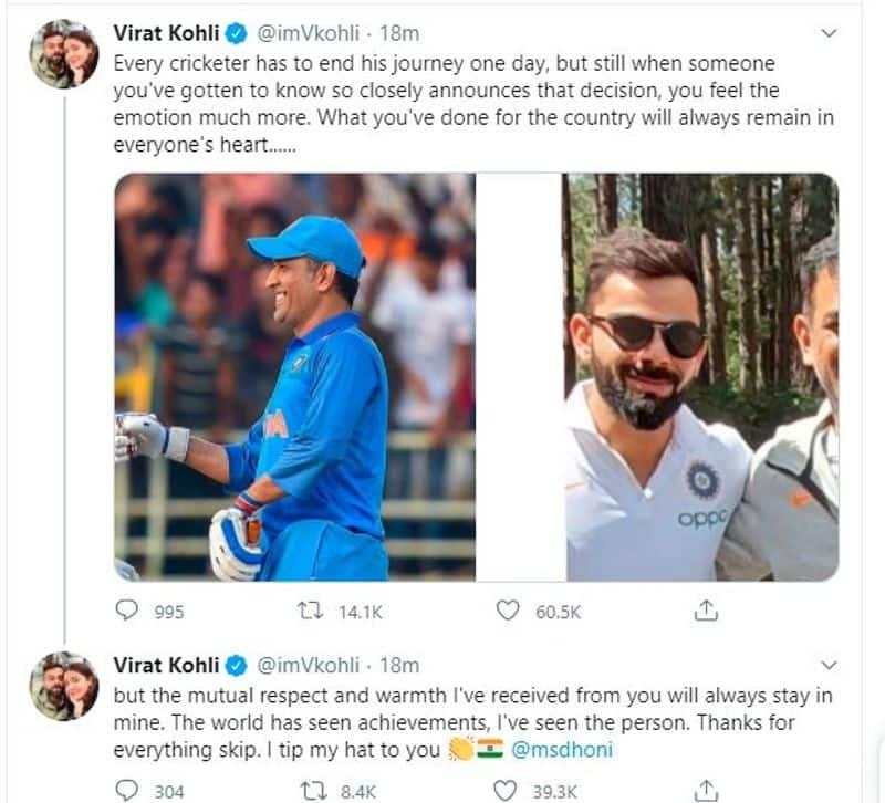 <p>Virat Kohli pays tribute to Dhoni</p>