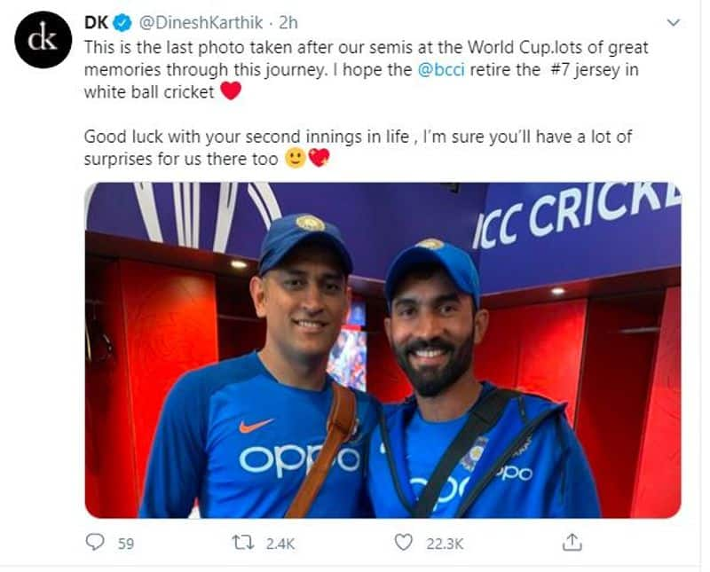 <p>Wicketkeeper-batsman Dinesh Karthik took to Twitter and said he wants the BCCI to retire the No. 7 jersey in white-ball cricket.</p>