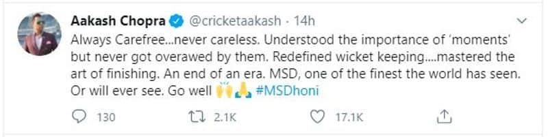 <p>Aakash Chopra on Dhoni</p>