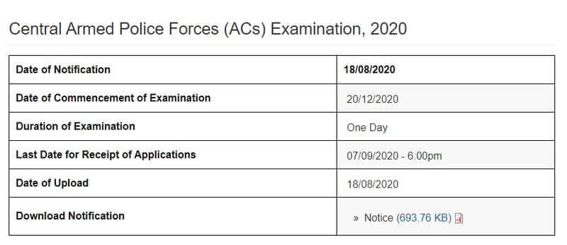 upsc capf recruitment 2020 for 209 posts apply online kpt