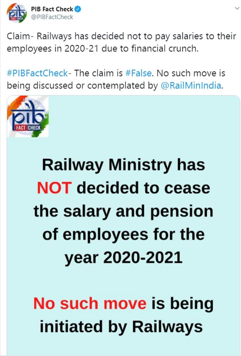 fact check on Railways holding salaries and pensions of employees