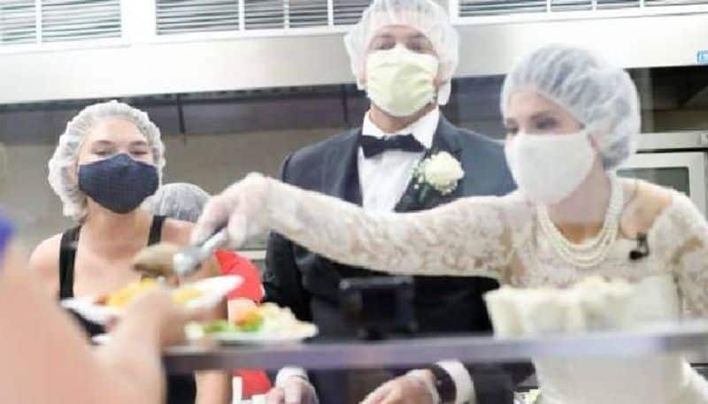 Covid wedding couple serve lunch at local shelter