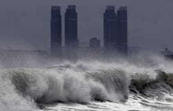 <p>The typhoon was observed in waters about 195 km south of the border of China and North Korea at 5 am on Thursday, with a maximum wind force of 136.8 km per hour near its eye, the NMC said.</p>