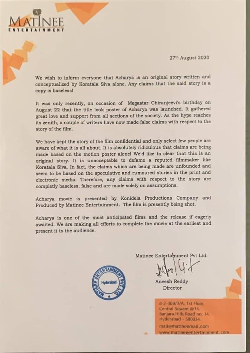 Megastar Chiranjeevi Achraya Movie Team Press Release