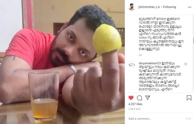 miniscreen actor jishin mohan shared a detaild note about nail biting after effects in funny words