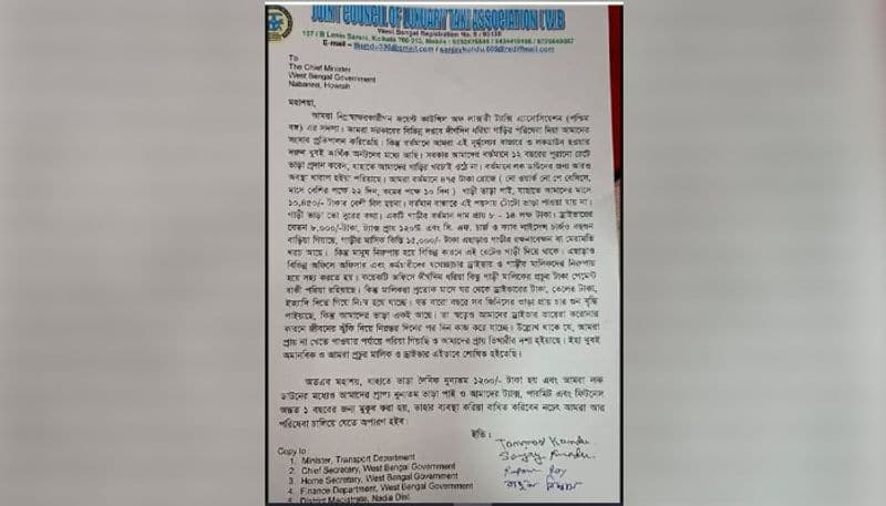 A letter has been sent to the Mamata Banerjee with several requests from the taxi organization RTB