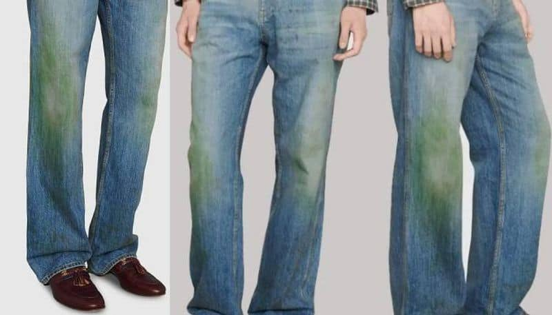 Gucci jeans with fake grass stains